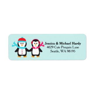Cute Penguin Bird Couple Christmas Winter Label