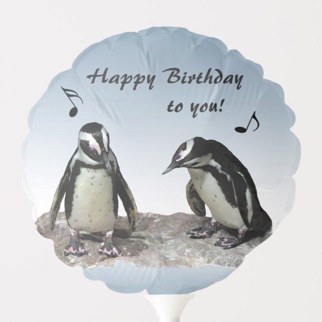Cute Penguin Birds Birthday Balloon