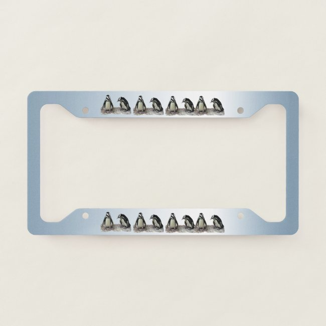 Cute Penguin Birds Blue License Plate Frame