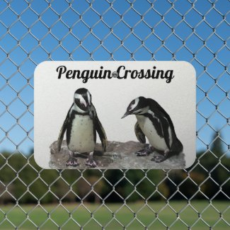 Cute Penguin Birds Crossing Metal Sign