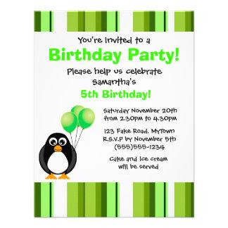 Cute Penguin Birthday Green Party Invitation