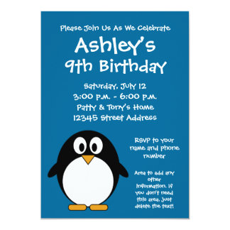 "Cute Penguin Birthday Party Invitation 5"" X 7"" Invitation Card"