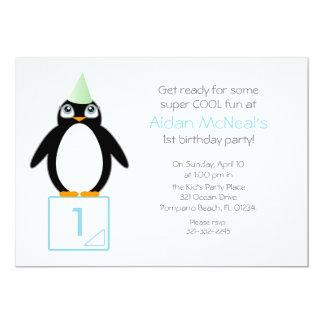 cute penguin BIRTHDAY PARTY invitation MINT