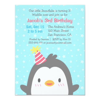 Cute Penguin Birthday Party Invitations