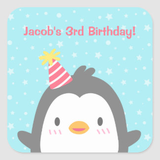 Cute Penguin Birthday Party Stickers Decorations