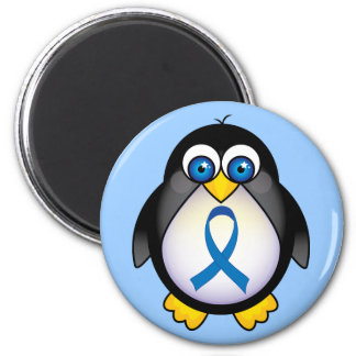 Cute Penguin Blue Ribbon Awareness 2 Inch Round Magnet