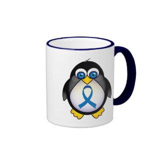 Cute Penguin Blue Ribbon Awareness Ringer Coffee Mug