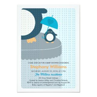 Cute Penguin Boy Baby Shower Invitation