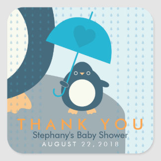Cute Penguin Boy Baby Shower Thank You Stickers