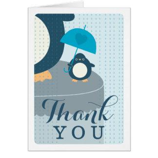 Cute Penguin Boy Blue Thank You Note Card