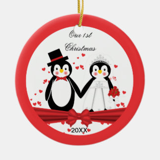 Cute Penguin Bride & Groom Wedding 1st Christmas Ceramic Ornament