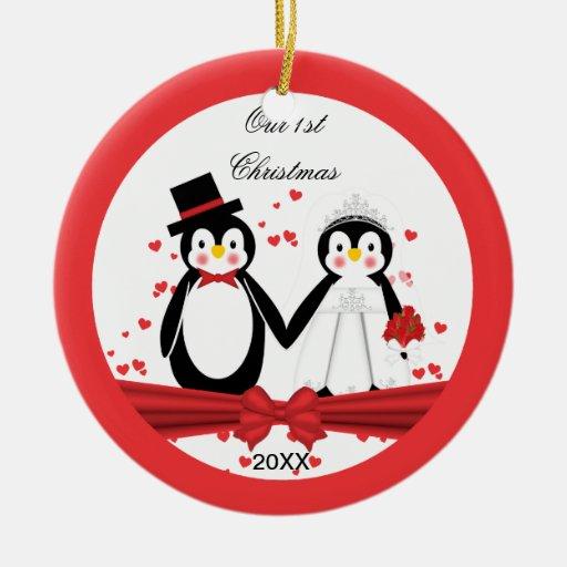 Cute Penguin Bride & Groom Wedding 1st Christmas Christmas Tree Ornament