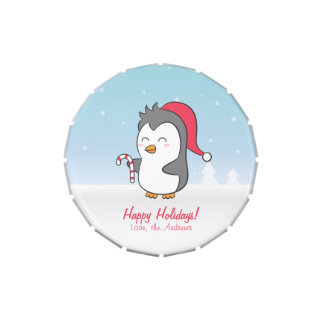 Cute Penguin Candy Cane Christmas Treats Candy Tins