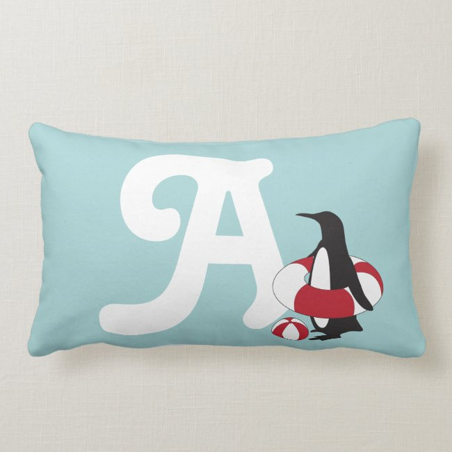 Cute Penguin Cartoon ABC Alphabet Light Blue Kids