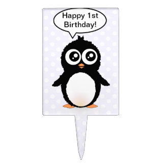 Cute penguin cartoon cake topper