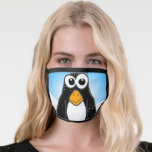 """Cute Penguin Cartoon Illustrated Blue Face Mask<br><div class=""""desc"""">This cute penguin pattern is great for brightening your day. The funny black and white cartoon is great for kids or those working with them.</div>"""