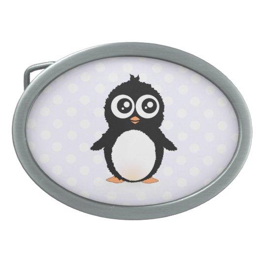 Cute penguin cartoon oval belt buckle