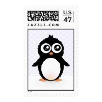 Cute penguin cartoon postage