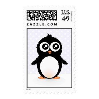 Cute penguin cartoon postage stamp