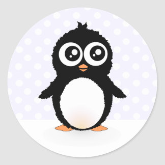 Cute penguin cartoon round stickers