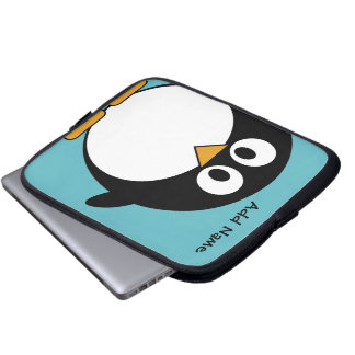 Cute Penguin Cartoon with Area for Name Laptop Sleeve