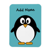 Cute Penguin Cartoon with Area for Name Magnet