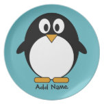 Cute Penguin Cartoon with Area for Name Party Plates