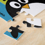 Cute Penguin Cartoon with Area for Name Jigsaw Puzzles