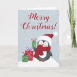 """Cute Penguin Christmas Card<br><div class=""""desc"""">A cute little penguin holds a Christmas present. Front of card reads Merry Christmas. Inside reads Wishing you a Very Merry Christmas. Both sayings can easily be customized with just a few clicks.</div>"""