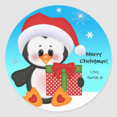 Cute Penguin Christmas Gift Sticker at Zazzle