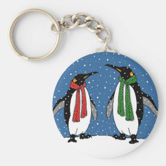 Cute Penguin Couple, Christmas Scarves, Snowflakes Keychain