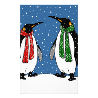Cute Penguin Couple, Christmas Scarves, Snowflakes Stationery