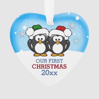 Cute Penguin Couple First Christmas Ornament