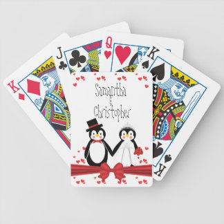 Cute Penguin Couple Wedding Playing Cards