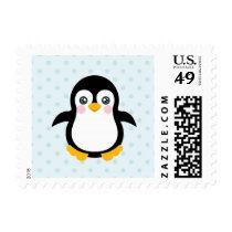 Cute Penguin Design Blue Polka Dot Background Postage