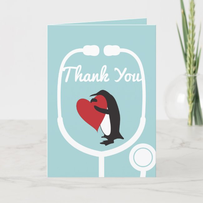 Cute Penguin Doctor and Nurse Thank You Card