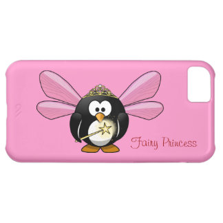 Cute Penguin Fairy Princess with Crown on Pink Case For iPhone 5C