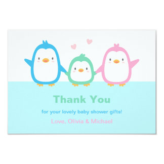 Cute Penguin Family Baby Shower Thank You Cards