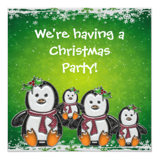 Cute Penguin Family & Snowflakes Christmas Party 5.25x5.25 Square Paper Invitation Card