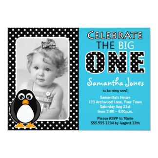 Cute Penguin First Birthday Party Blue Card