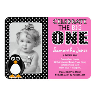 Cute Penguin First Birthday Party Pink Card