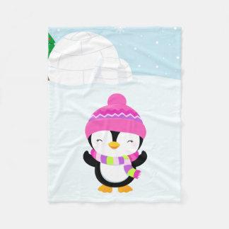 Cute penguin fleece blanket