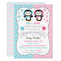 Cute Penguin Gender Reveal Card