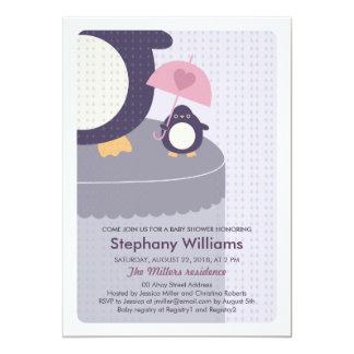 "Cute Penguin Girl Baby Shower Invitation 5"" X 7"" Invitation Card"
