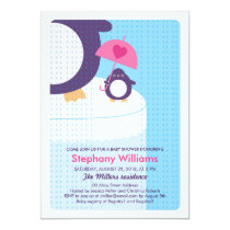 Cute Penguin Girl Bright Baby Shower Invitation