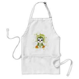 Cute penguin green fluffy effect music note swirls adult apron