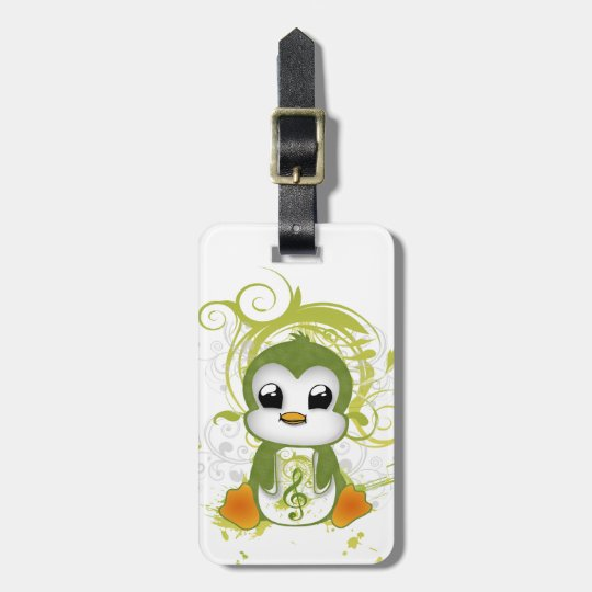 Cute penguin green fluffy effect music note swirls bag tag