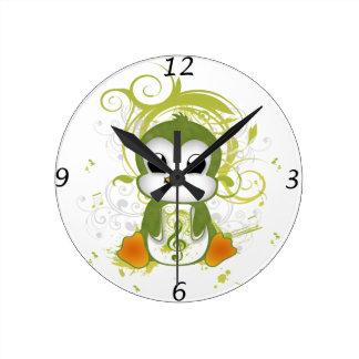 Cute penguin green fluffy effect music note swirls round wall clocks