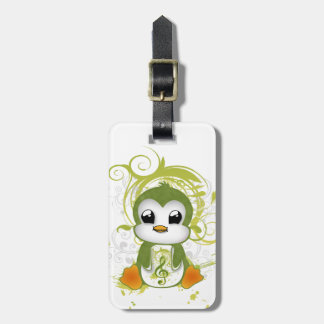 Cute penguin green fluffy effect music note swirls travel bag tags