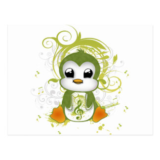 Cute penguin green fluffy effect music note swirls postcard